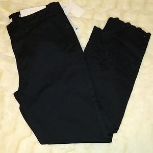 LC Black Skinny embroidered hem jeans size 8